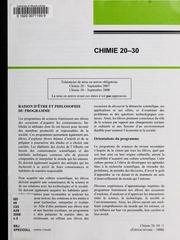 Chimie 20-30 : raison dêtre et philosophie du programme 2008