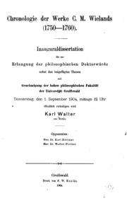Chronologie der Werke C. M. Weilands1750-1760...