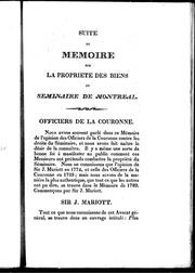 Suite du mémoire sur la propriété des biens du Séminaire de Montréal microforme