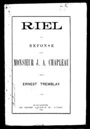 Riel microforme : réponse à Monsieur J.A. Chapleau
