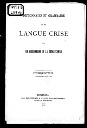 Dictionnaire et grammaire de la langue crise microforme