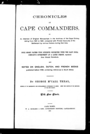 Chronicles of Cape commanders   or  An abstract of original