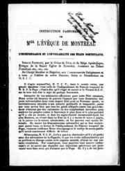 Instruction pastorale de Monseigneur l-évêque de Montréal microforme : sur l-indépendance et l-inviolabilité des Etats pontificaux