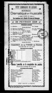 Petit séminaire de Québec microforme : soirée dramatique et musicale donnée par les membres de la Société St.-Louis de Gonzague, 28 février 1895, programme .