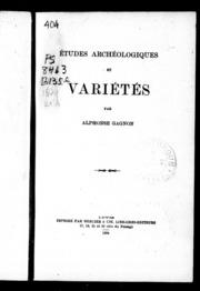 Études archéologiques et variétés microforme