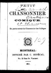 Petit chansonnier comique microforme : en partie extrait du Chansonnier des colléges sic