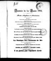 Inventaire du 1er janvier 1862 microforme : fontes anglaises et américaines