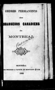 Ordres permanents des chasseurs canadiens de Montréal microforme