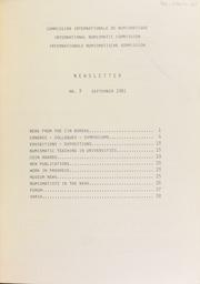 CIN Newsletter 3 (September 1981) : lettre d'information / Ed. H.A. Cahn.