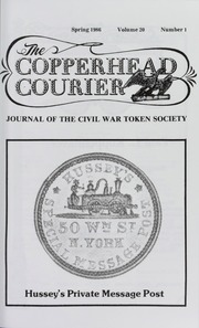 Copperhead Courier: Journal of the Civil War Token Society, vol. 20, no. 1-4, with Index (pg. 19)