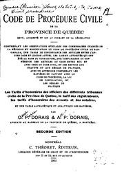 Code de procédure civile de la province de Québec: revu, augmenté et mis au ...