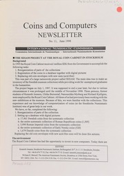 Coins and computers newsletter 11 (June 1998)