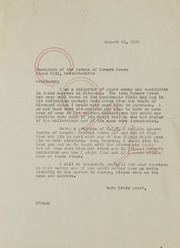 Correspondence Related to Purchases from the Col. E. H. R. Green Estate: 1939
