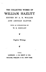 twenty two essays of william hazlitt hazlitt william  vol 12 the collected works of william hazlitt
