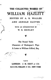 hazlitt selected essays hazlitt william  the collected works of william hazlitt