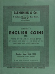 Collection of English coins, etc., formed by the late Mr. Edward Cotton, of Hanley, and sold by the order of the executors, [containing] the complete collection of Maundy money for Queen Victoria's reign;  ... [06/20/1955]