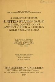A collection of rare United States gold, silver and copper coins ... [03/07/1927]