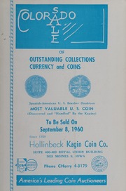 Colorado Sale of Outstanding Collections, Currency and Coins