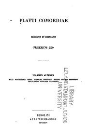 Comoediae: recensuit et emendauit Fridericus Leo