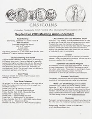 CNS/COINS Monthly Bulletin: September 2003