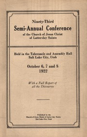 Music from October 1922 General Conference (1922)
