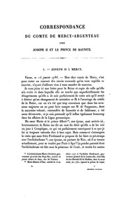 Correspondance secrète du comte de Mercy Argenteau avec l-empereur Joseph II et le prince de Kaunitz