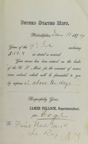 James Pollock to First National Bank, Le Ray, N.Y., June 11, 1874