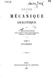Cours de mécanique analytique