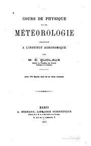 Cours de physique et de météorologie professé à l-Institut Agronomique