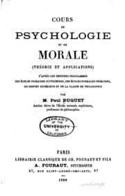 Cours de psychologie et de morale (théorie et applications) d-après les ...