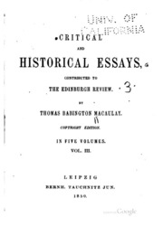macaulay critical and historical essays Essays historical critical macaulay thomas and december 14, 2017 @ 4:40 pm contracts of adhesion an essay in reconstruction of the south.
