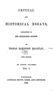 essays thomas macaulay Find great deals on ebay for thomas babington macaulay and thomas babington macaulay history of england shop with confidence.