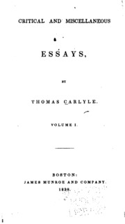 carlyle critical essay miscellaneous thomas works Thomas carlyleaposs works critical and miscellaneous essays miscellaneous essays thomas carlyle apos s works critical and miscellaneous essays.