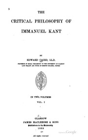 the critical philosophy of immanuel kant essay