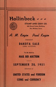 Dakota Sale (105th Auction) To Be Sold by Mail Bid Auction