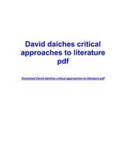A Critical History Of English Literature By David Daiches Pdf