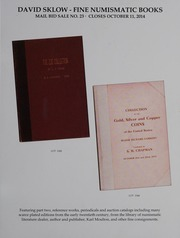 David Sklow Fine Numismatic Books Mail Bid Sale No. 23