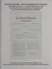 David Sklow Fine Numismatic Books Mail Bid Sale No. 9