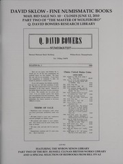 David Sklow Fine Numismatic Books Mail Bid Sale No. 10