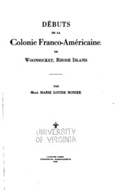 Débuts de la colonie franco-américaine de Woonsocket, Rhode Island