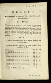 Décret concernant la liquidation & le remboursement de la dette de l'état : du 17 mai 1791.