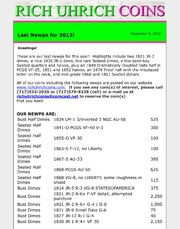 December 2012 - Last Newps for 2012 and The Importance of Coin Storage