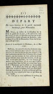 Départ de 1500 hommes de la Garde nationale bordelaise, pour Montauban.