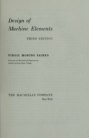 Machine faires elements pdf of design by
