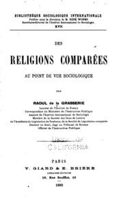 Des religions comparées au point de vue sociologique