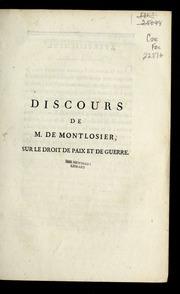 Discours de M. de Montlosier, sur le droit de paix et de guerre.