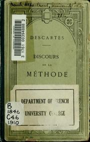 Discours de la méthode. Nouv. éd., publiée avec une introd. et des notes par T.V. Charpentier