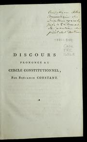 Discours prononcé au Cercle constitutionnel