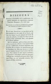 Discours prononcé à l'assemblée de la confédération des gardes nationales des départemens composant l'ancienne Bourgogne, le 17 mai 1790