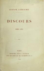 Discours prononces a la Direction des beaux-arts, 1888-1891